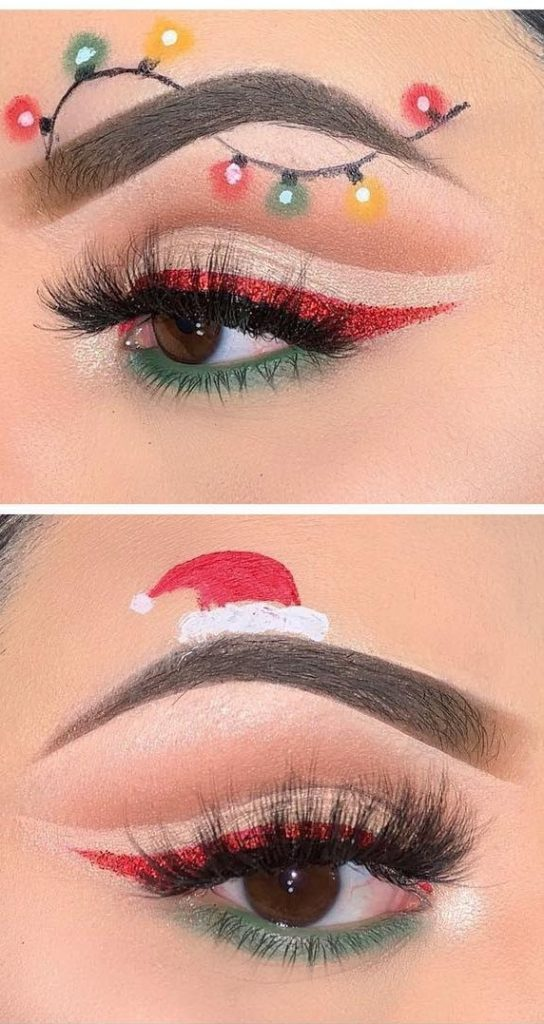 Christmas String Lights and Santa's Hat  Makeup #Christmas #makeup #beauty #trendypins