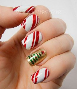 Christmas Tree and Red White Striped Holiday Manicure