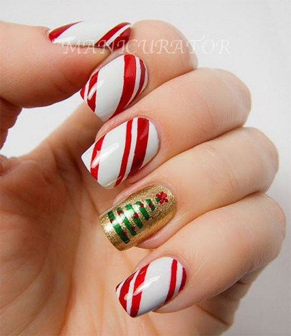 Christmas Tree and Red White Striped Holiday Manicure #Christmas #nails #trendypins