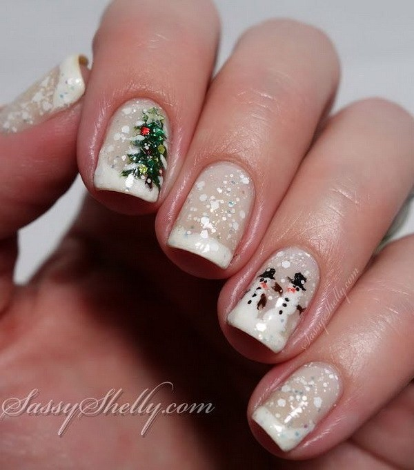 Christmas Tree and Snowman Nail Design