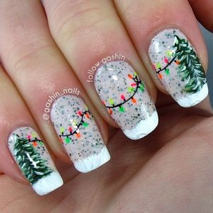 Christmas Tree and String Lights Nails
