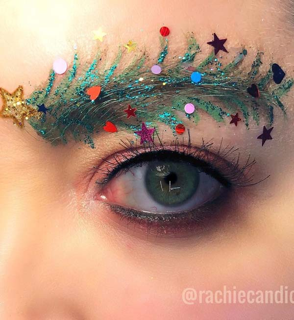 Christmas-Tree-and-Stars-on-Eyebrows