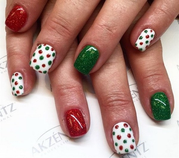 Colorful Green, Red and White Dotted Nails