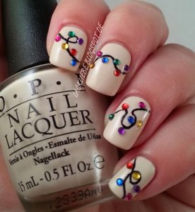 Colorful String Light Christmas Nails on White Base