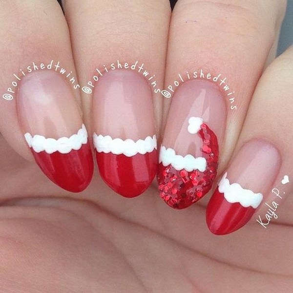 Cute Red French Manicure with Santa's Hat #Christmas #nails #trendypins