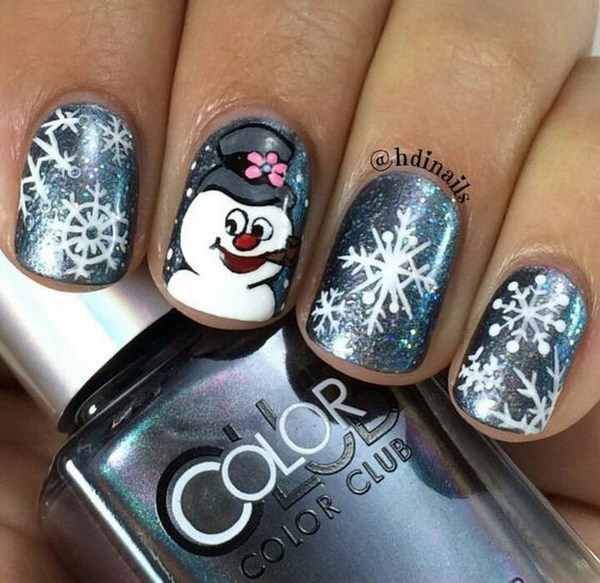 Cute Snowman Nails for Christmas #Christmas #nails #trendypins