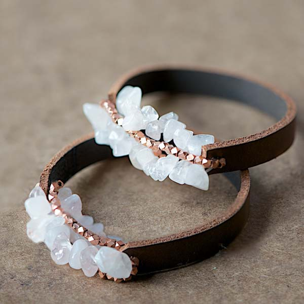 DIY Leather and Crystal Bracelet #DIY #Christmas #gifts #trendypins