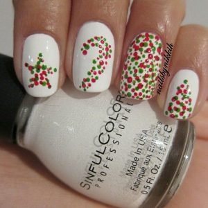 Dotted Christmas Nail Design