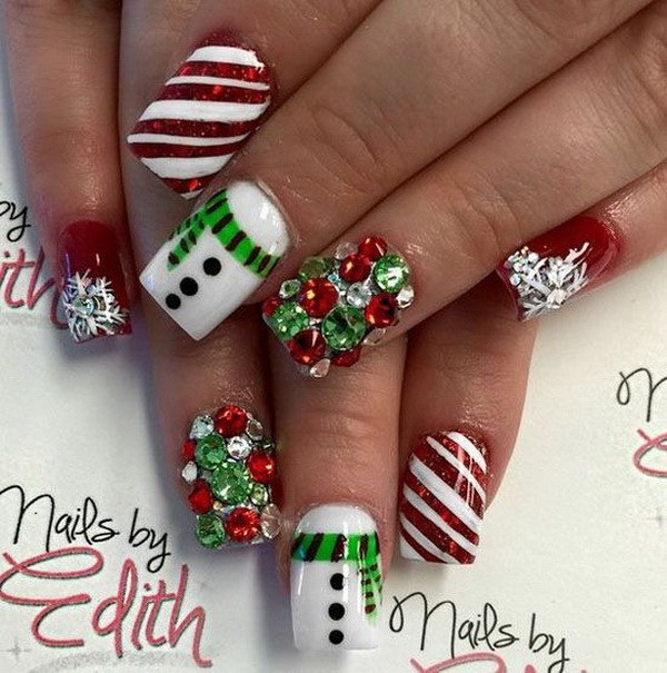 Fabulous Christmas Nail Design with Rhinestones