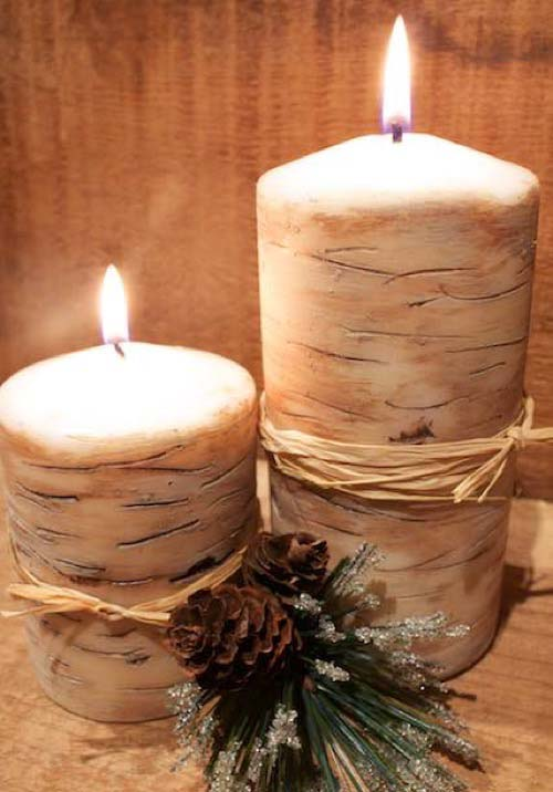 DIY Faux Birch Candles #DIY #Christmas #gifts #trendypins