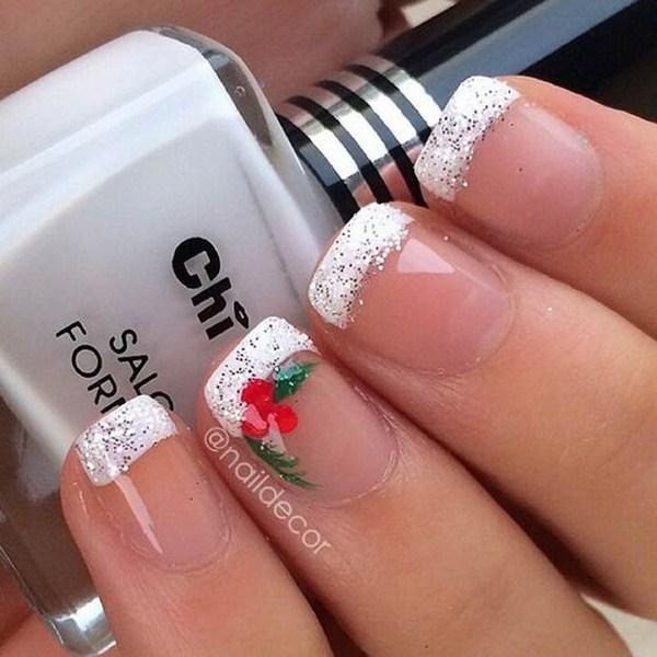 Festive Christmas French Manicure