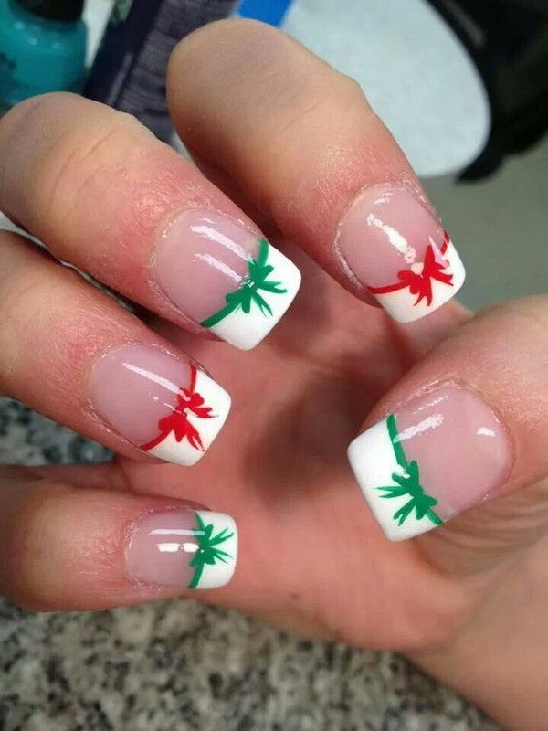 French Manicure with Christmas Bows #Christmas #nails #trendypins