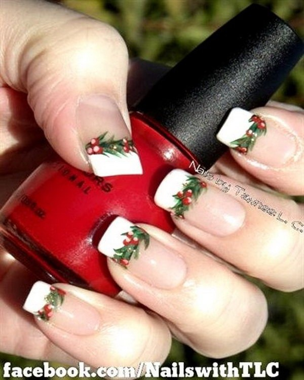 French Manicure with Christmas Motifs #Christmas #nails #trendypins