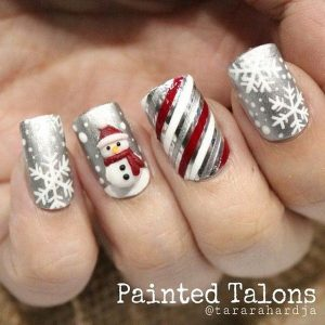 Frosty Snowman on Silver Base Christmas Nails