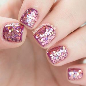 Glitter Placement Nails