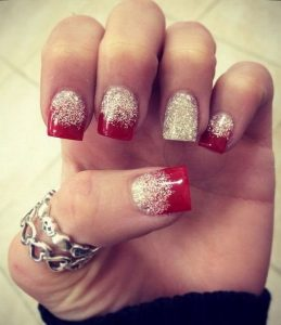 Glitter Red and White Nails