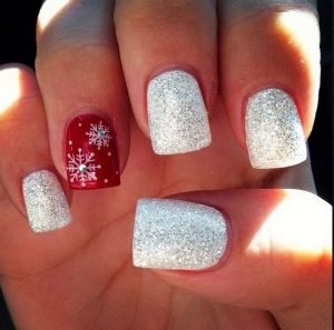 Glitter Red White Christmas Nails with Rhinestones
