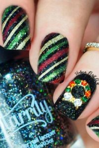 Glittery Diagonal Stripes Across Nail