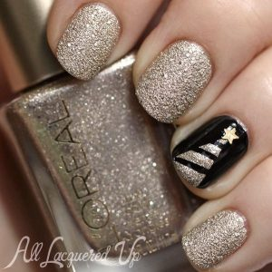 Gold Glitter and Black Nails with Christmas Tree