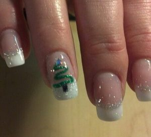 Green Christmas Tree on White Glitter French Manicure