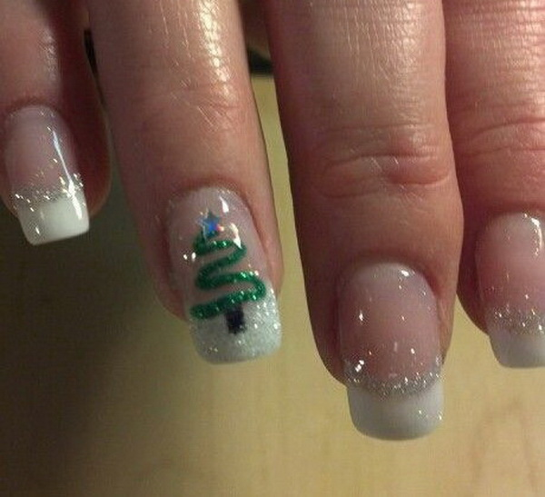 Green Christmas Tree on White Glitter French Manicure #Christmas #nails #trendypins