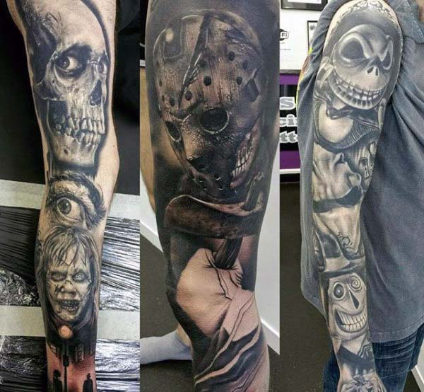 Horror Movie Characters Tattooed on Your Arm #Halloween #tattoos #trendypins