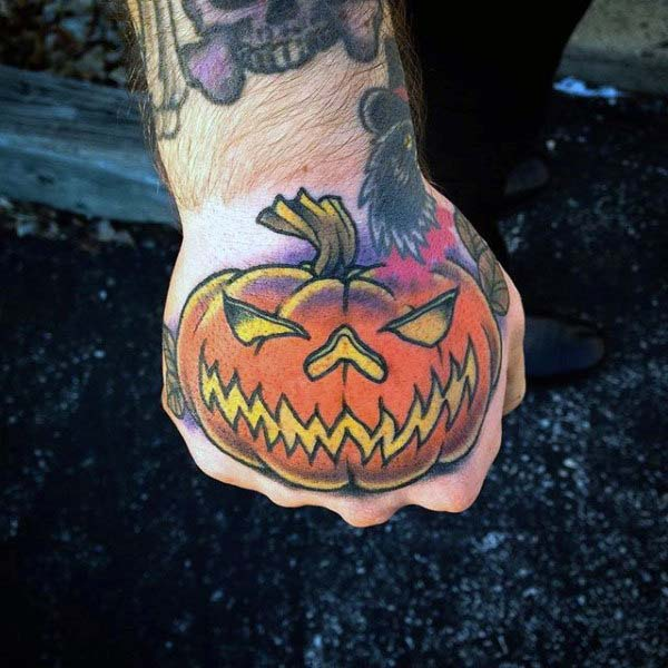 Illustration of a Jack O'lantern on a Person's Hand #Halloween #tattoos #trendypins