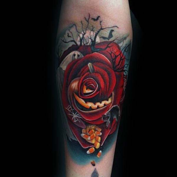 Large Rose Tattoo, Featuring a Ghost #Halloween #tattoos #trendypins