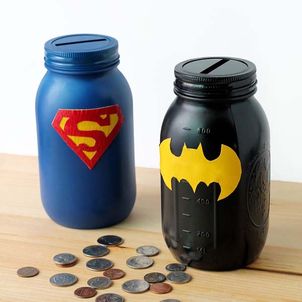 Mason Jar Superhero Bank