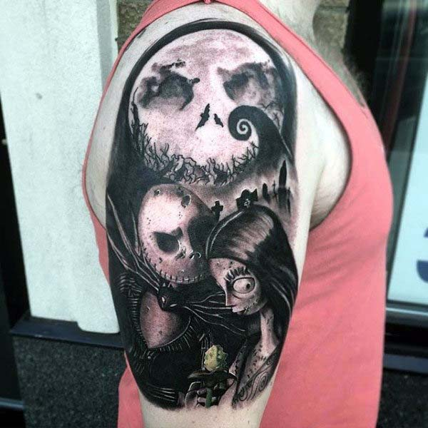 Monochrome Tattoo of Jack and Sally