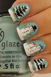 Nail Art Design With Snowman And Trees