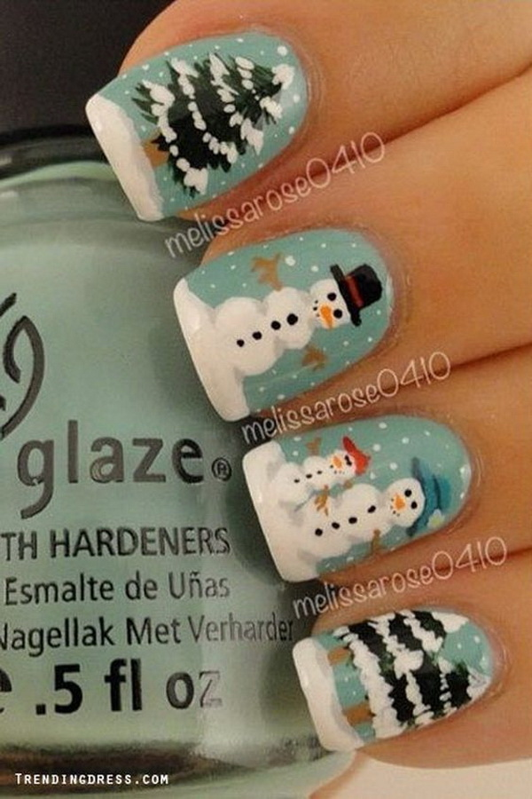 Nail Art Design With Snowman And Trees #Christmas #nails #trendypins