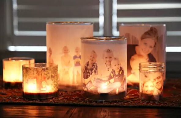 Glowing Photo Luminaries #DIY #Christmas #gifts #trendypins