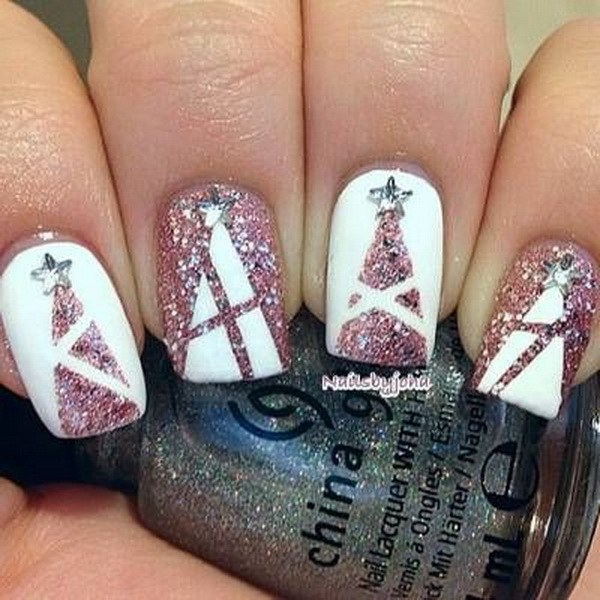 Pink Glitter Christmas Tree Nail Designs on White Base