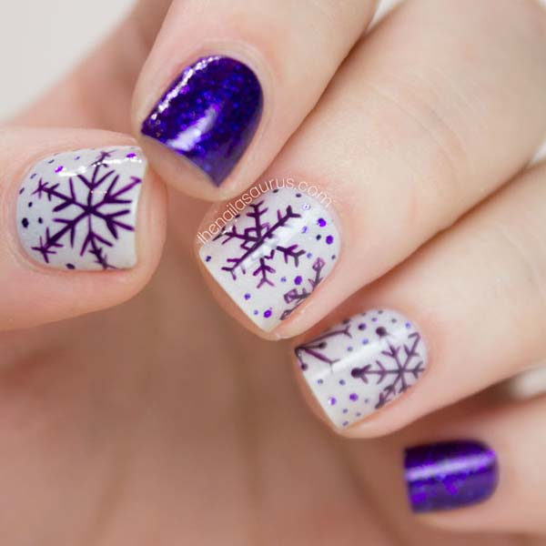 Purple Snowflake Nails #Christmas #nails #trendypins