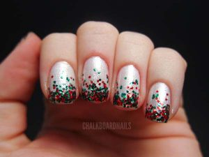 Red and Green Glitter on White Base Christmas Mani