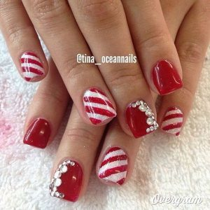 Red and White Christmas Nails with Rhinestones