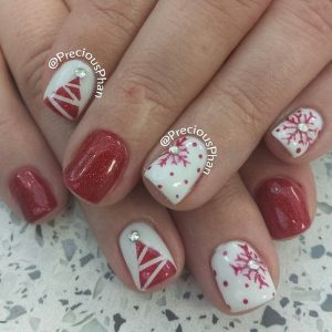 Red and White Christmas Tree and Snowflakes Nails