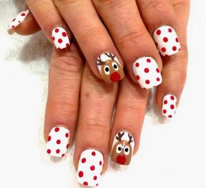 Red Dotted on White Base and Reindeer Christmas Nails