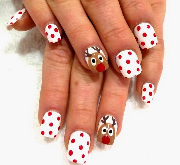 Red Dots on White Base and Reindeer Christmas Nails #Christmas #nails #trendypins