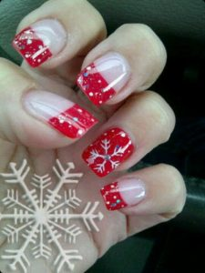Red French Manicure Inspiration with Snowflakes