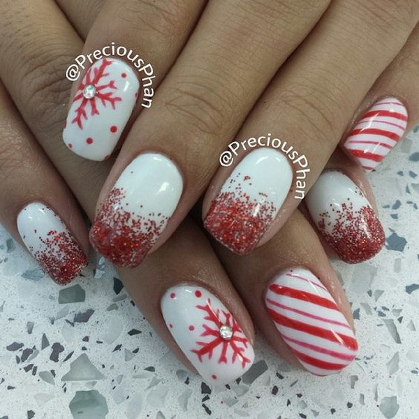 Red Glitter and Snowflakes Christmas Nails on White Base #Christmas #nails #trendypins