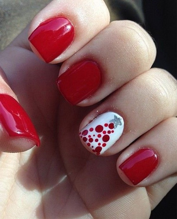 Red Nail Design with One White Dotted Christmas Tree Nail #Christmas #nails #trendypins