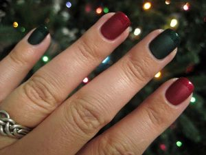 Red and Green Matte Christmas Nails