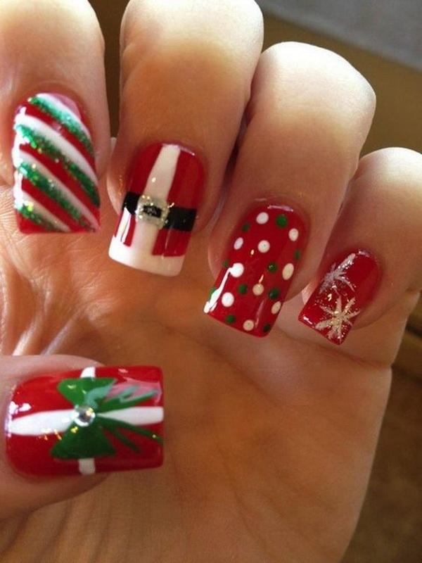 Santa Belt Christmas Nails