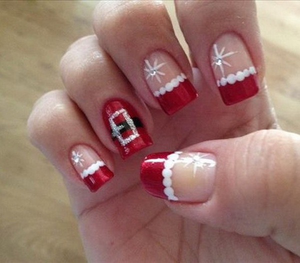 Santa Claus Christmas Nails Design with Rhinestones #Christmas #nails #trendypins