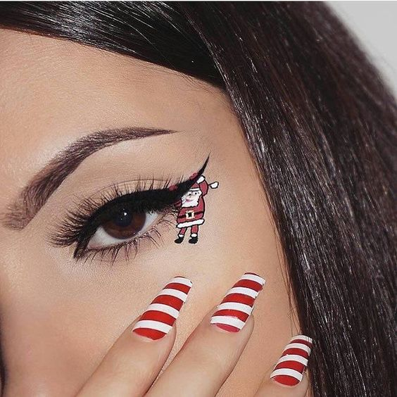 Santa Claus in the Lower Corner of the Eyelid #Christmas #makeup #beauty #trendypins
