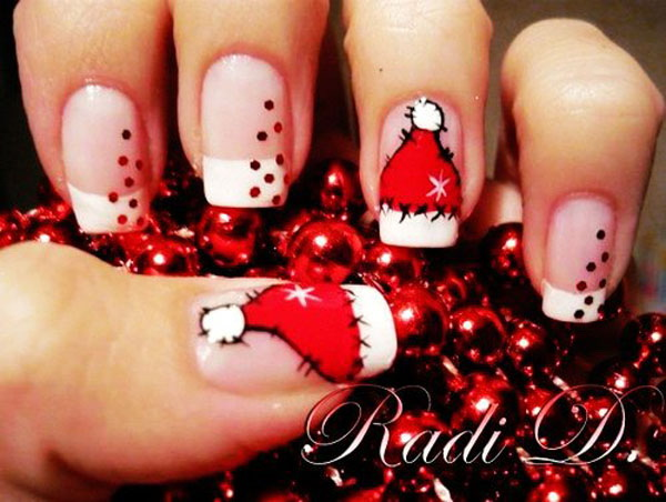Santa's Hat French Manicure #Christmas #nails #trendypins
