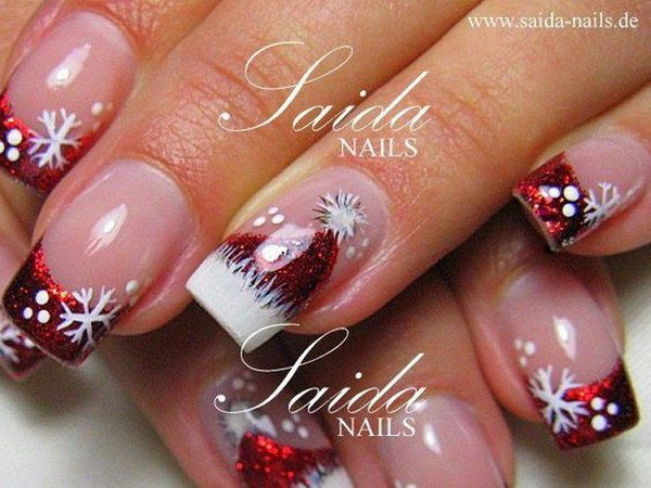 Santa's Hat French Tipped Christmas Nails #Christmas #nails #trendypins