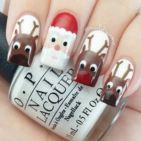 Santa Claus and Reindeers on a White Base Christmas Nails #Christmas #nails #trendypins